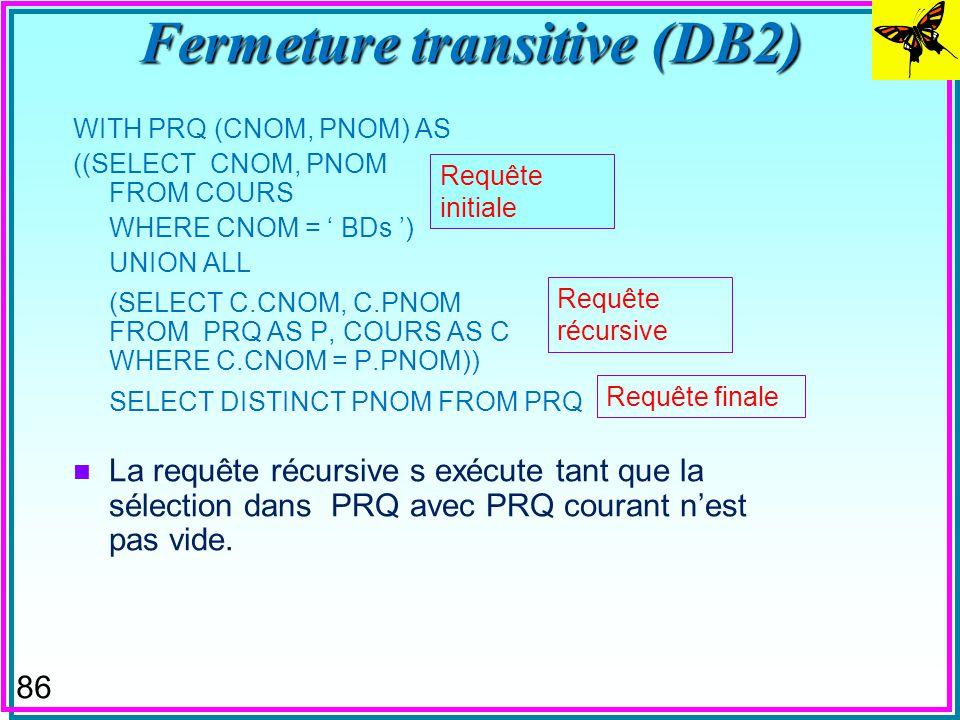 85 Fermeture transitive (DB2) n Considère la table COURS (CNOM, PNOM, NMIN) contenant les cours et leur pré-requis avec les notes minimales pour l adm