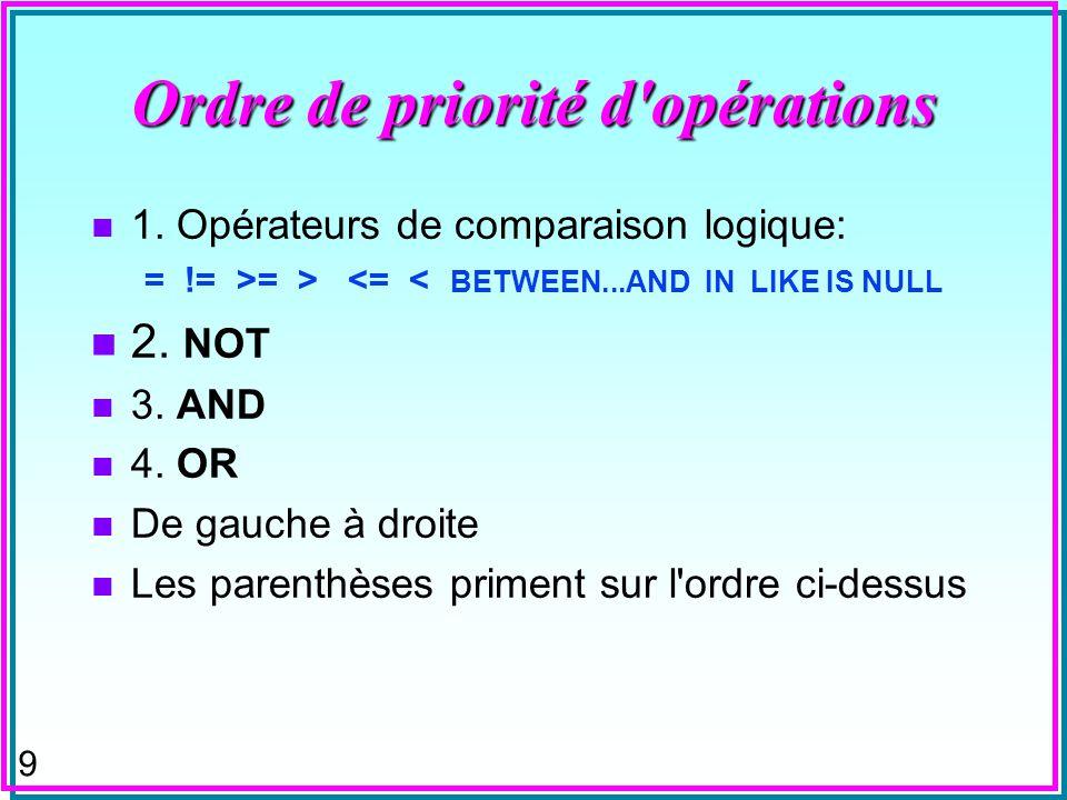 8 ORDER BY et expressions de valeur n ORDER BY clause peut aussi référencer un attribut et une expression qui n'est pas dans SELECT clause: Select S#,