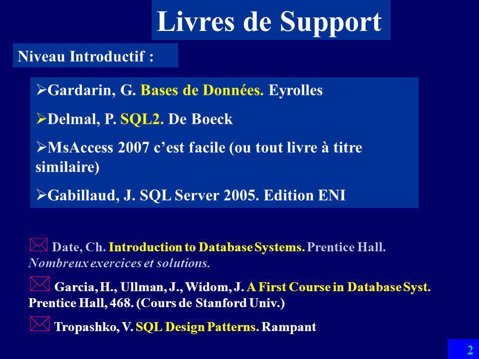 92 Exemple de SGBD Relationnel MsAccess Le plus vendu au monde –Dizaines de millions de copies / mois Bases 3 GO –Limite dadressage en 32 bits de Windows En multibase : taille illimitée Langages SQL & QBE Excellente interfaces 4-GL & OLE notamment multimedia incluse Un langage de programmation BD –Visual Basic Adapté à larchitecture client-serveur –Gestion de concurrence et (limitée) de transactions –ODBC –Bonne compatibilité avec SQL Server