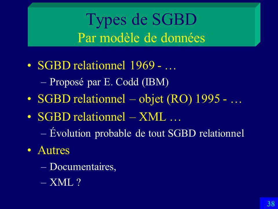 37 Types de SGBD Par modèle de données 1ère génération 1950 – 65 –SGF, SGF généralisés avec les langages booléens de manip.