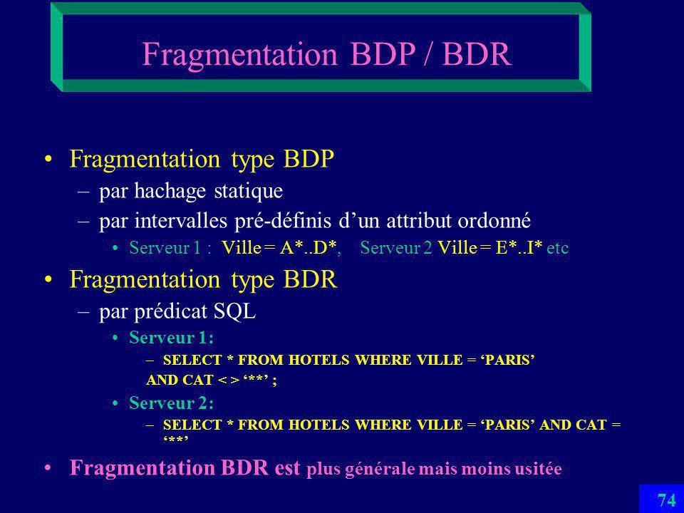 73 Base de Données Répartie ou Parallèle (BDR/BDP) –Une BD avec les fragments dans les SGBDs sur différents sites dun réseau –Si cest un réseau local et la répartition est une partition au niveau physique, alors cest une BD parallèle (BDP) Multibase –Une collection de bases de données munie dun langage multibase –Sur différents sites ou le même –On les appelle aussi BDs intéroperables –En général ces BDs sont autonomes et hétérogènes Architecture Client-Serveurs