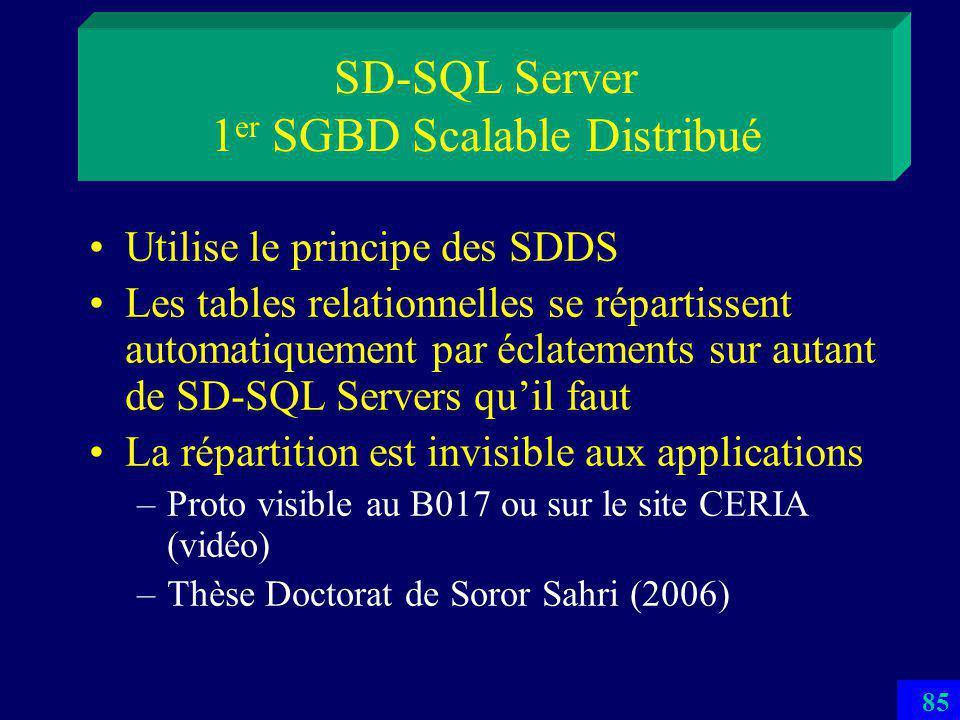 84 Structures de Données Distribuées et Scalables Partitionnement dynamique transparent au client –par hachage (LH*…) –par intervalles (RP*) : SDDS-2005 au B019 –multi-attribut (k-RP*…) –à tolérance de pannes (LH*sa) Accès par clé par le client –Peut subir des renvois entre les serveurs Idem pour laccès parallèle (scans) Voir les cours sur les SDDSs Une application récente : systèmes P2P structurés