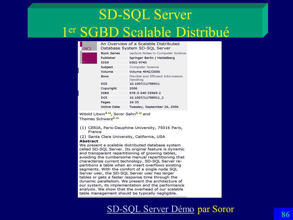 85 SD-SQL Server 1 er SGBD Scalable Distribué Utilise le principe des SDDS Les tables relationnelles se répartissent automatiquement par éclatements sur autant de SD-SQL Servers quil faut La répartition est invisible aux applications –Proto visible au B017 ou sur le site CERIA (vidéo) –Thèse Doctorat de Soror Sahri (2006)