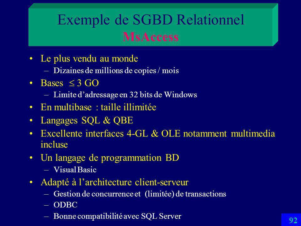 91 SQL: Select S#, SNAME, STATUS FROM S WHERE CITY = Paris Algèbre relationnelle : (S WHERE CITY = 'Paris') [S#, SNAME, STATUS] S Exemple