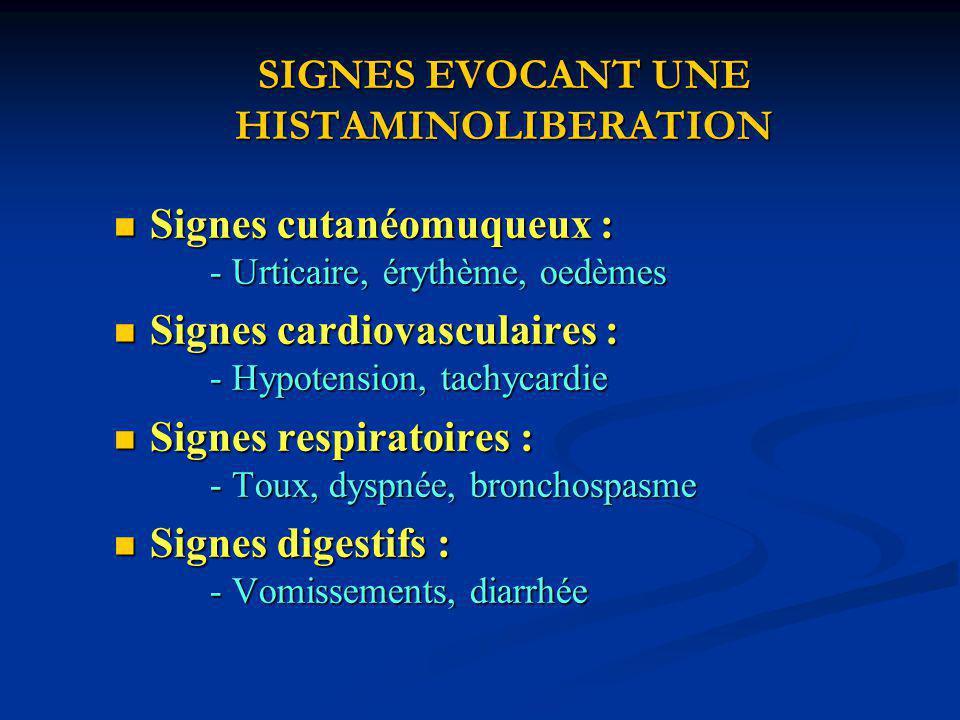 SIGNES EVOCANT UNE HISTAMINOLIBERATION Signes cutanéomuqueux : - Urticaire, érythème, oedèmes Signes cutanéomuqueux : - Urticaire, érythème, oedèmes Signes cardiovasculaires : - Hypotension, tachycardie Signes cardiovasculaires : - Hypotension, tachycardie Signes respiratoires : - Toux, dyspnée, bronchospasme Signes respiratoires : - Toux, dyspnée, bronchospasme Signes digestifs : - Vomissements, diarrhée Signes digestifs : - Vomissements, diarrhée