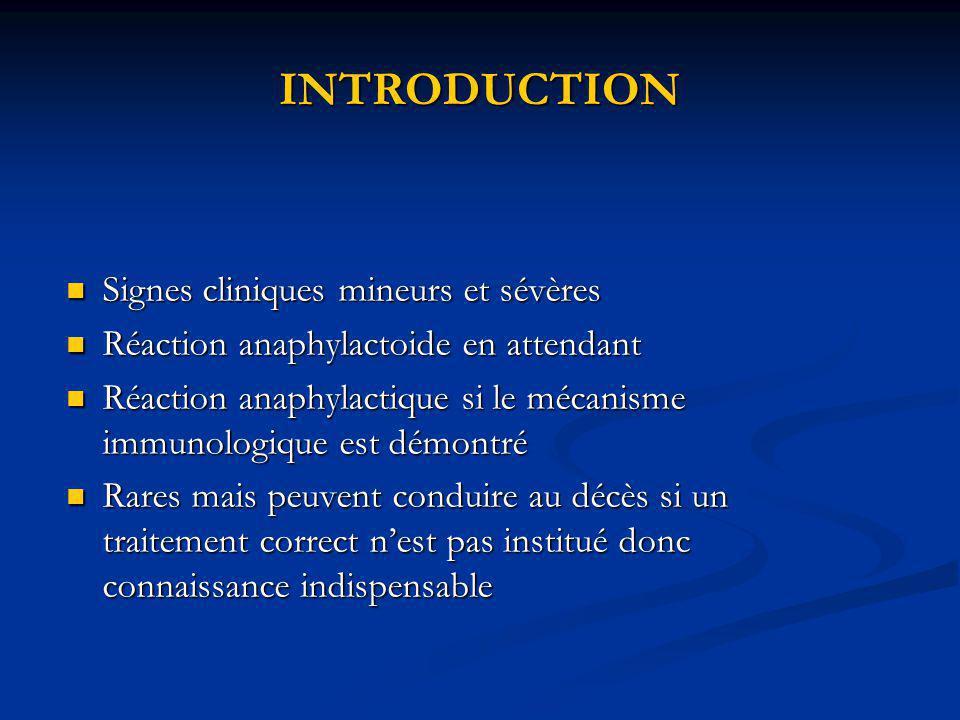 INTRODUCTION Signes cliniques mineurs et sévères Signes cliniques mineurs et sévères Réaction anaphylactoide en attendant Réaction anaphylactoide en a