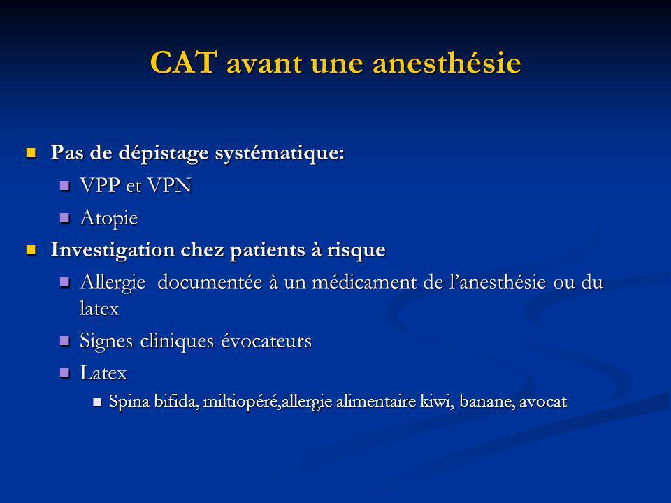 CAT avant une anesthésie Pas de dépistage systématique: Pas de dépistage systématique: VPP et VPN VPP et VPN Atopie Atopie Investigation chez patients