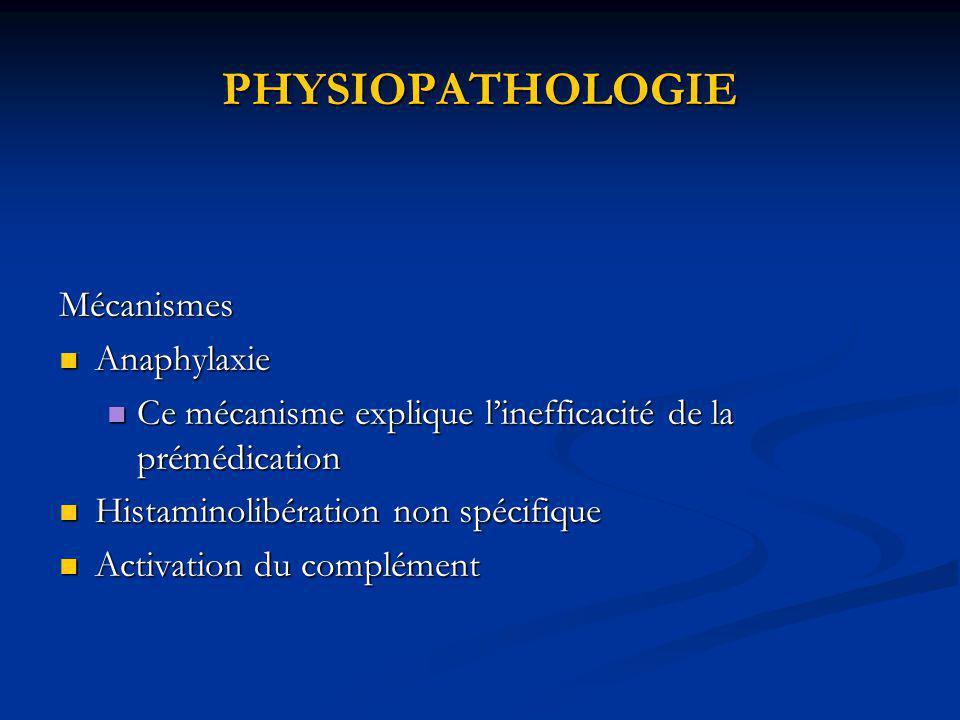 Diagnostic biologique dun accident anaphylactique per anesthésique Bilan immédiat Bilan immédiat Tryptase : 25µg/l Tryptase : 25µg/l post mortem ou avant arrêt de la réanimation Histamine : 9nmol/l Histamine : 9nmol/l Faux négatif: grossesse patient sous héparine CEC Ige spécifiques: Ige spécifiques: Ammonium quaternaire, thiopental, latex