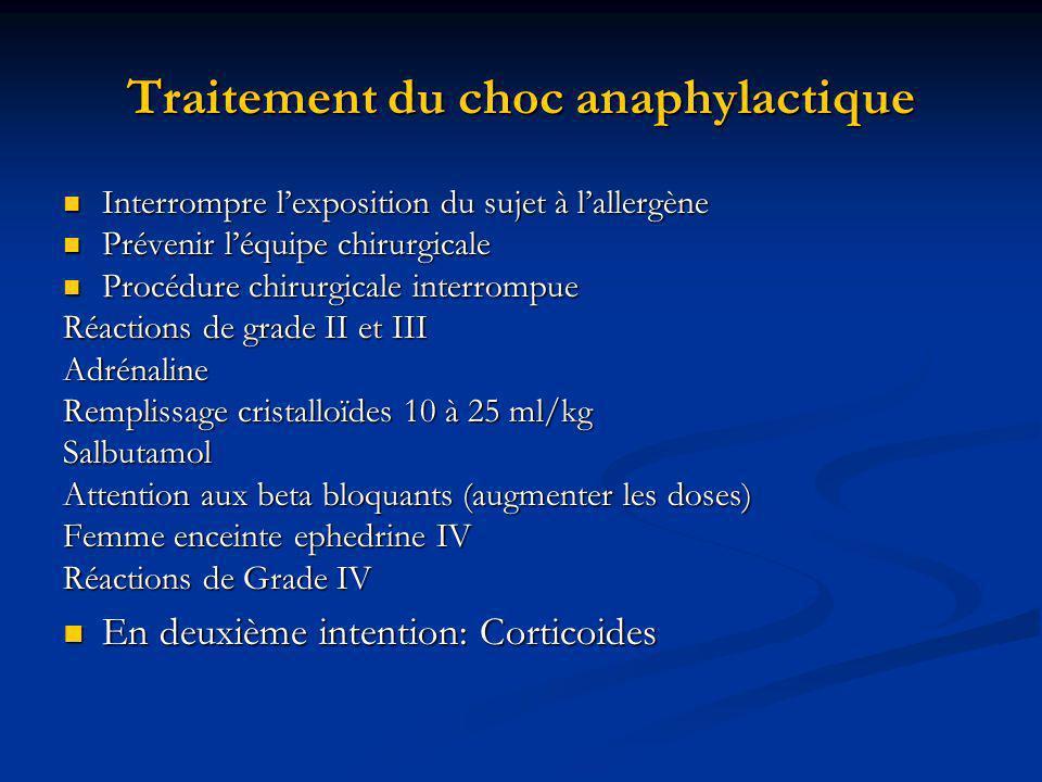 Traitement du choc anaphylactique Interrompre lexposition du sujet à lallergène Interrompre lexposition du sujet à lallergène Prévenir léquipe chirurg