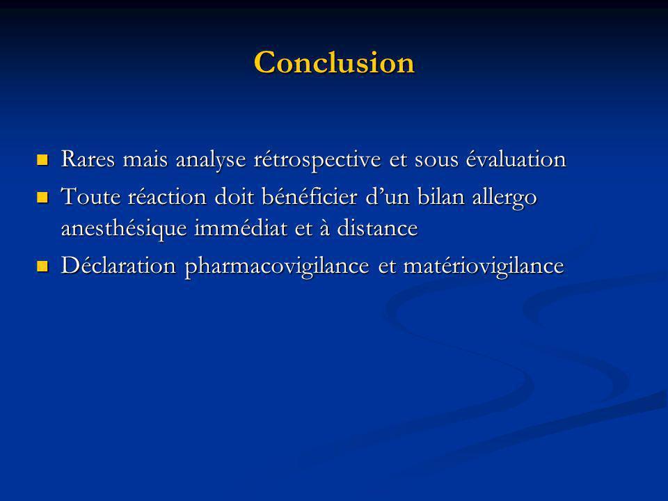 Conclusion Rares mais analyse rétrospective et sous évaluation Rares mais analyse rétrospective et sous évaluation Toute réaction doit bénéficier dun