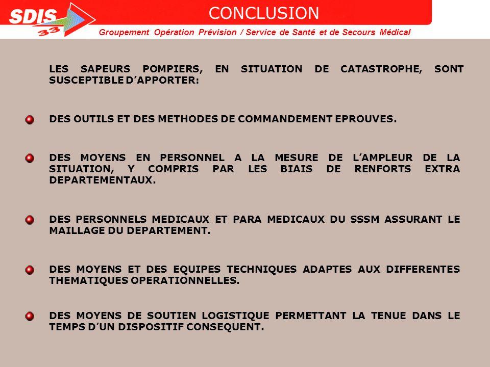 Groupement Opération Prévision / Service de Santé et de Secours Médical MOYENS MATERIELS EQUIPES DE SAUVETAGE DE SURFACE ET SUBAQUATIQUE