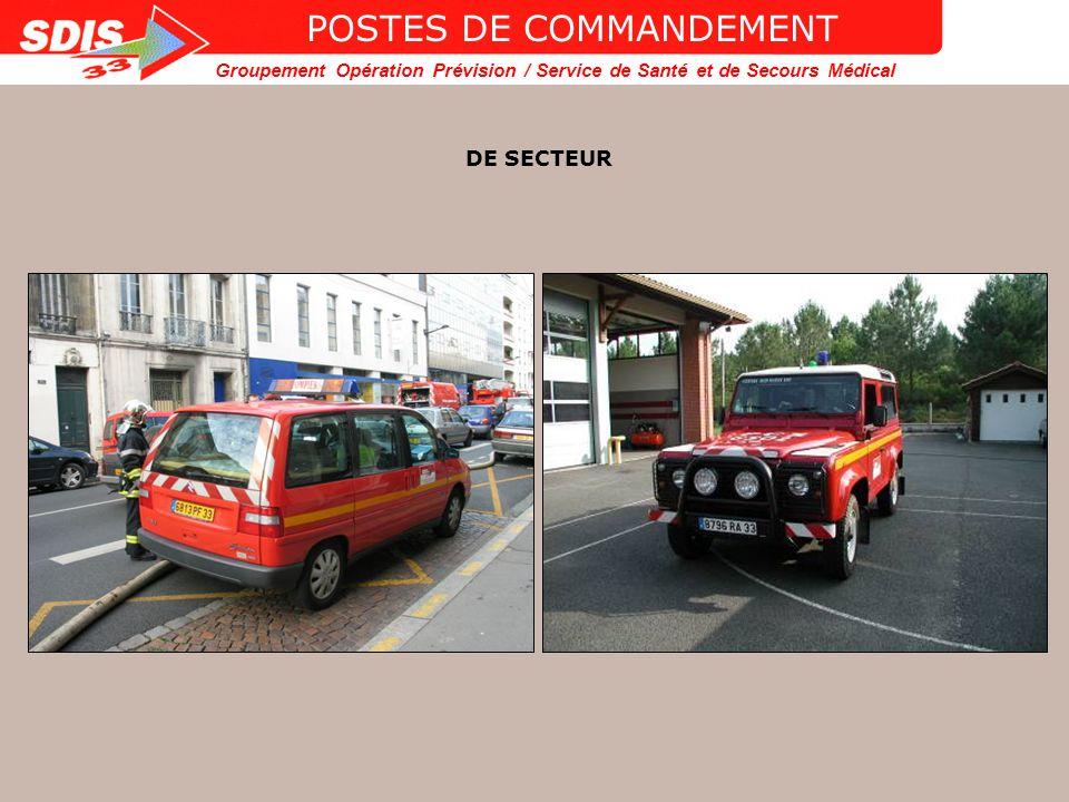 Groupement Opération Prévision / Service de Santé et de Secours Médical POSTES DE COMMANDEMENT DE COLONNE