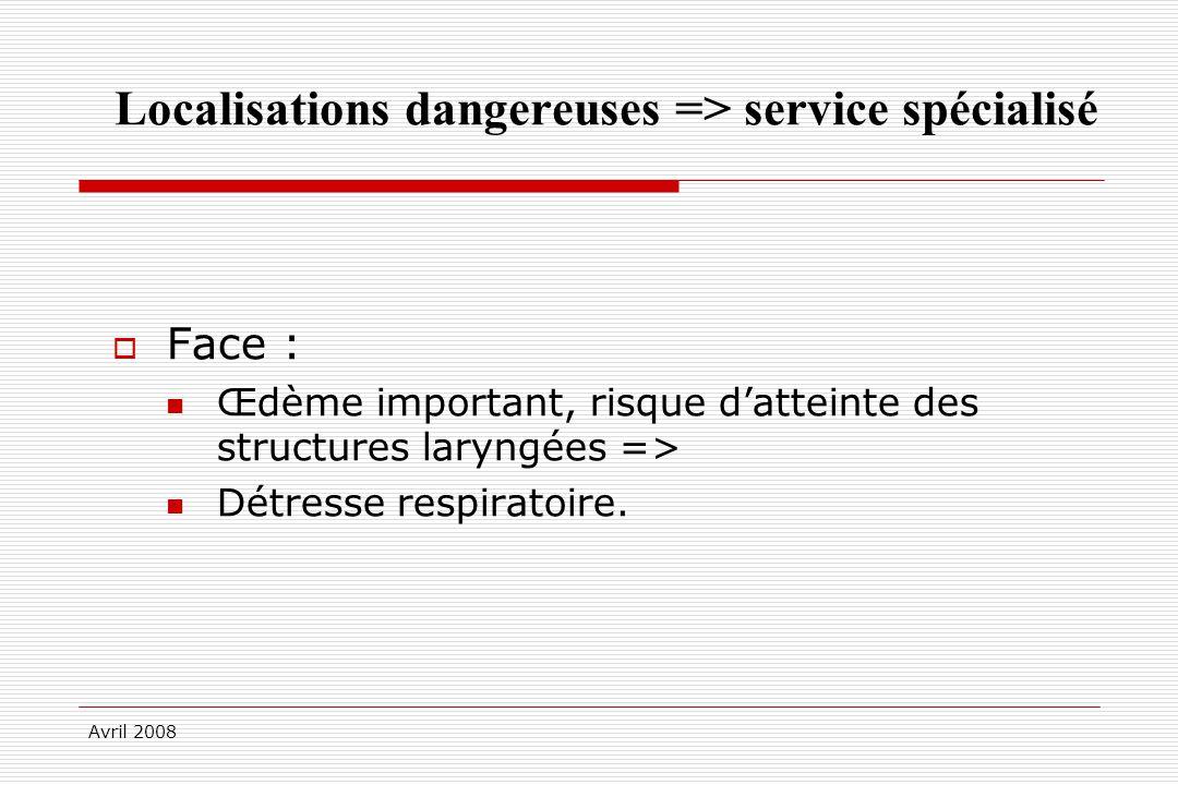 Avril 2008 Localisations dangereuses => service spécialisé Face : Œdème important, risque datteinte des structures laryngées => Détresse respiratoire.