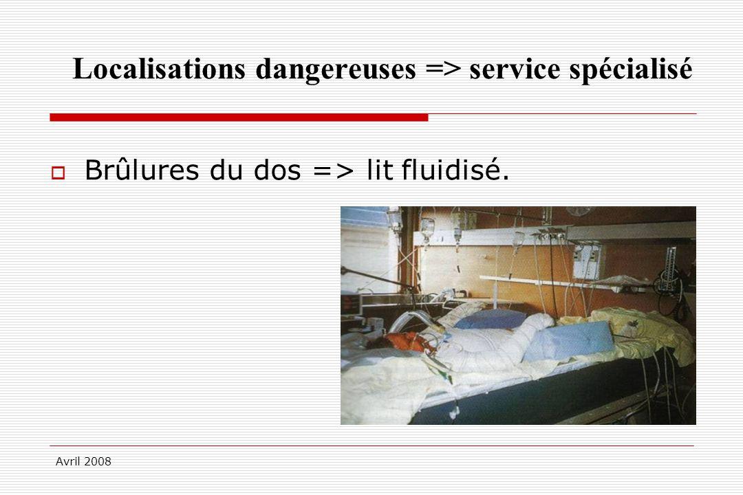 Avril 2008 Localisations dangereuses => service spécialisé Brûlures du dos => lit fluidisé.