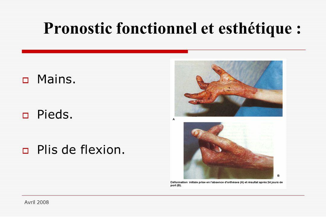 Avril 2008 Pronostic fonctionnel et esthétique : Mains. Pieds. Plis de flexion.
