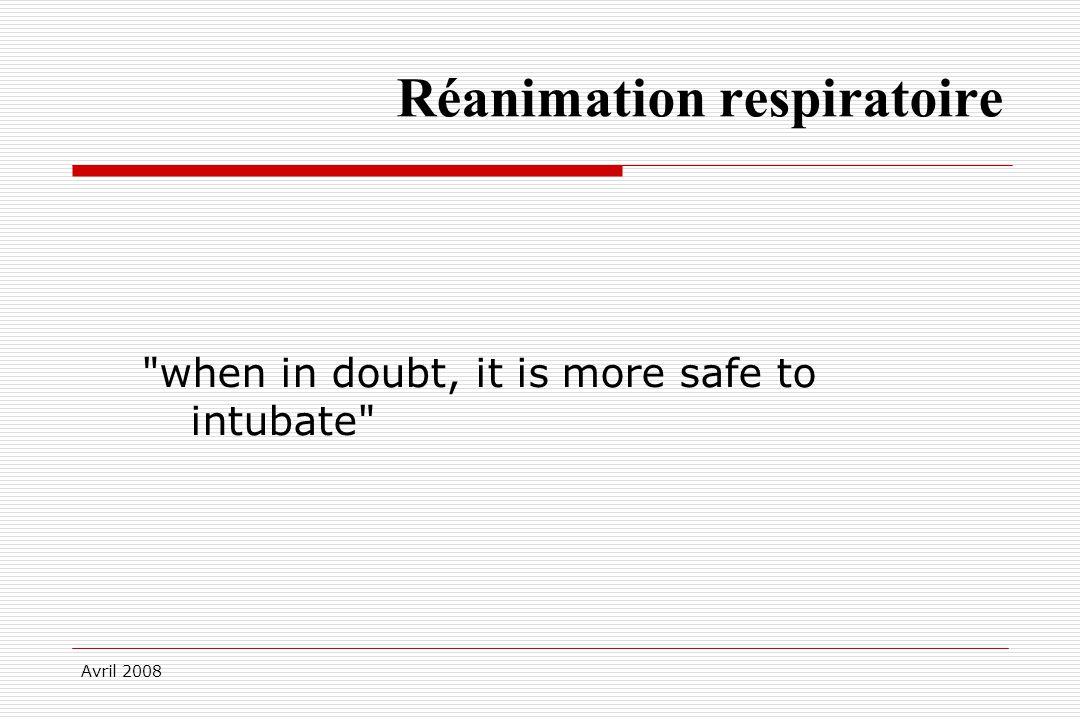 Avril 2008 Réanimation respiratoire