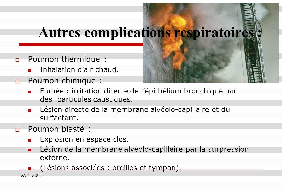 Avril 2008 Autres complications respiratoires : Poumon thermique : Inhalation dair chaud. Poumon chimique : Fumée : irritation directe de lépithélium