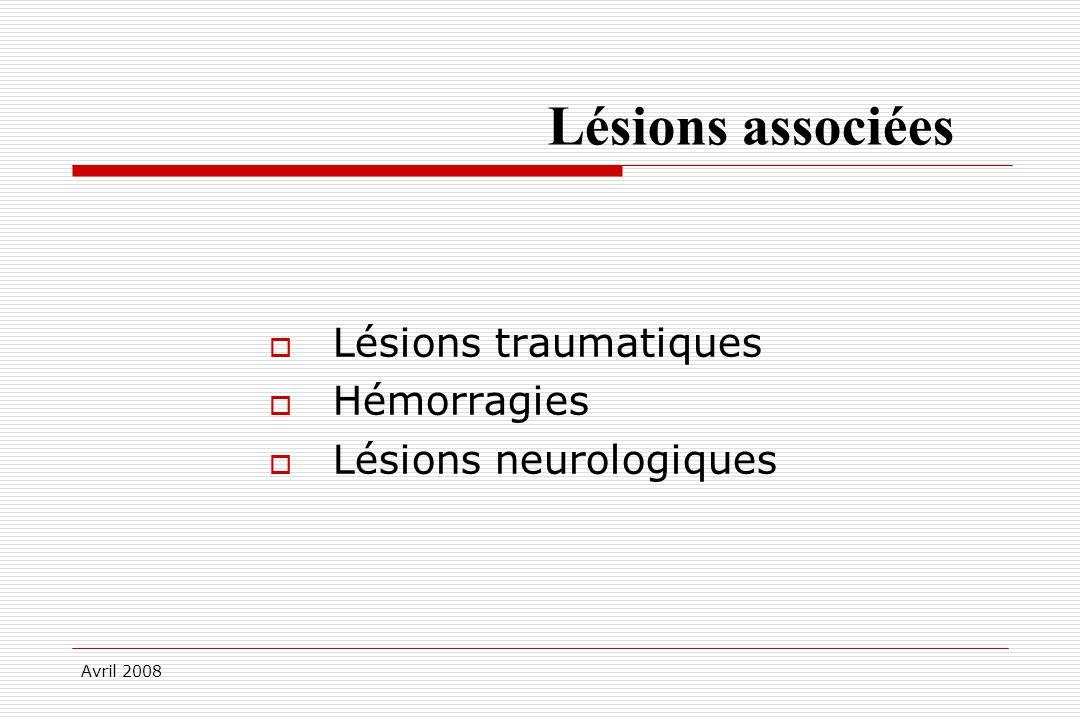 Avril 2008 Lésions associées Lésions traumatiques Hémorragies Lésions neurologiques