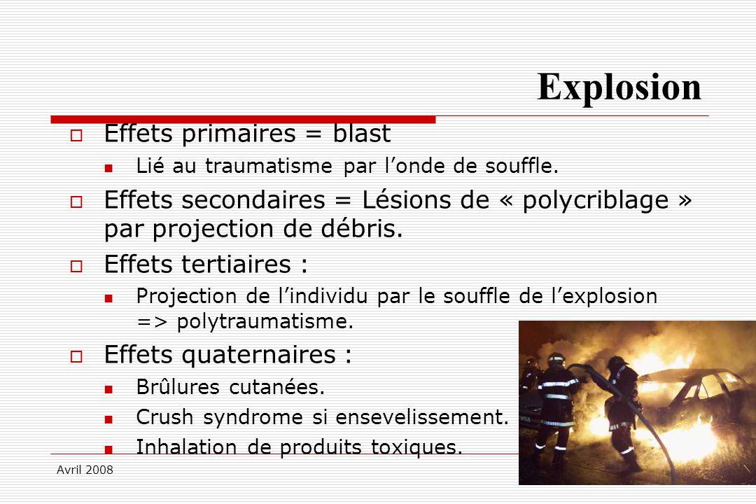 Avril 2008 Explosion Effets primaires = blast Lié au traumatisme par londe de souffle. Effets secondaires = Lésions de « polycriblage » par projection