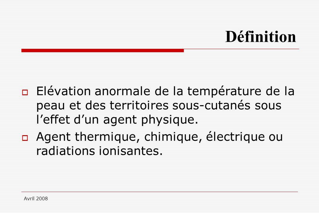 Avril 2008 Définition Elévation anormale de la température de la peau et des territoires sous-cutanés sous leffet dun agent physique. Agent thermique,