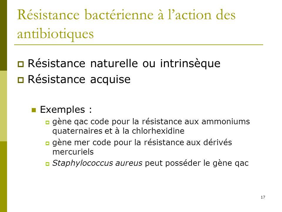 17 Résistance bactérienne à laction des antibiotiques Résistance naturelle ou intrinsèque Résistance acquise Exemples : gène qac code pour la résistan