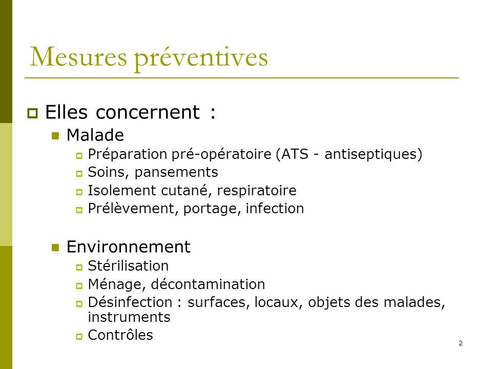2 Mesures préventives Elles concernent : Malade Préparation pré-opératoire (ATS - antiseptiques) Soins, pansements Isolement cutané, respiratoire Prél