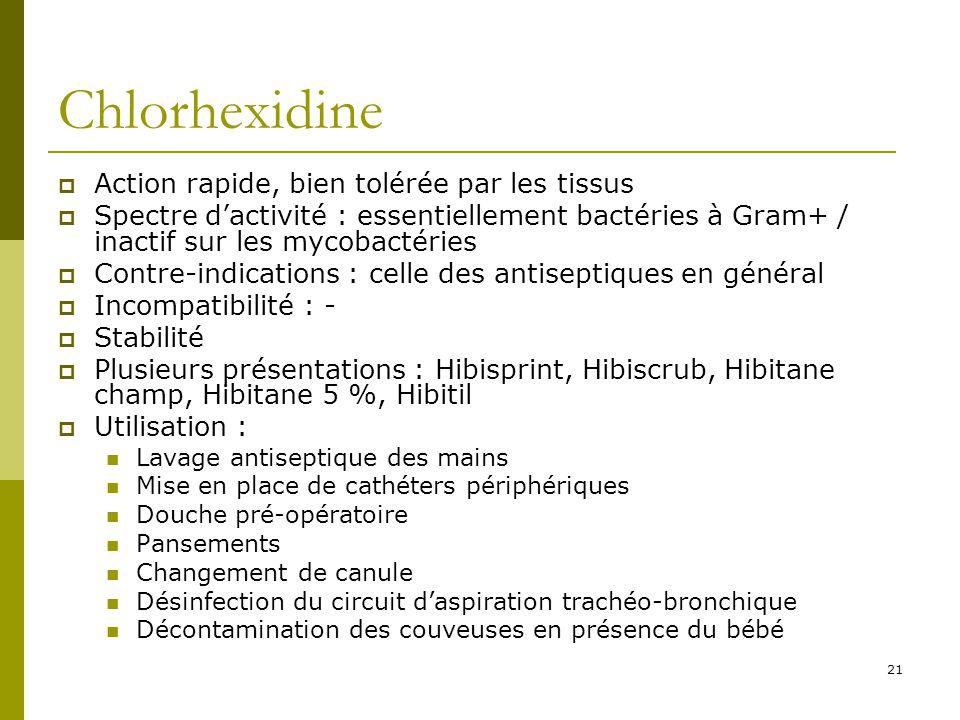 21 Chlorhexidine Action rapide, bien tolérée par les tissus Spectre dactivité : essentiellement bactéries à Gram+ / inactif sur les mycobactéries Cont