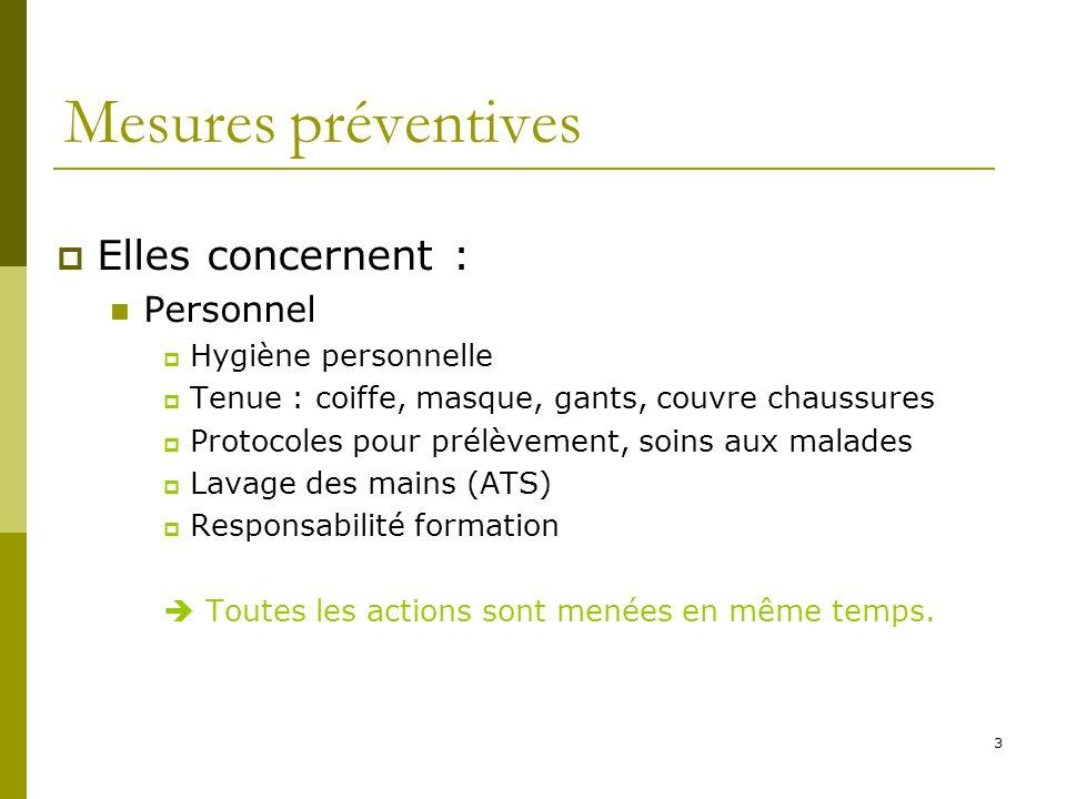 3 Mesures préventives Elles concernent : Personnel Hygiène personnelle Tenue : coiffe, masque, gants, couvre chaussures Protocoles pour prélèvement, s