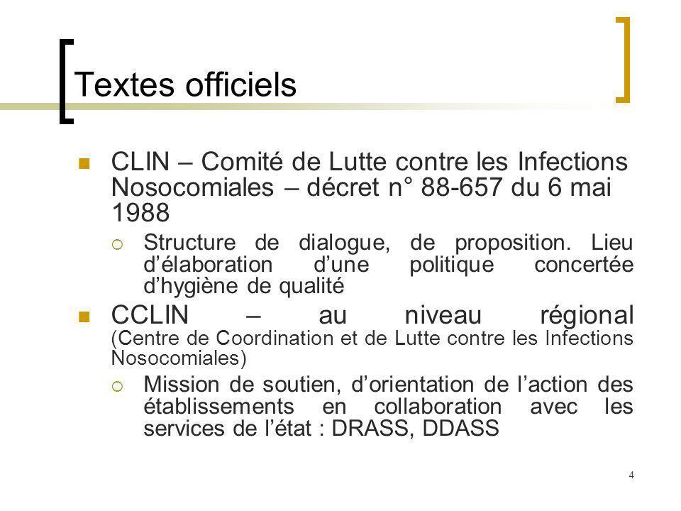4 Textes officiels CLIN – Comité de Lutte contre les Infections Nosocomiales – décret n° 88-657 du 6 mai 1988 Structure de dialogue, de proposition.