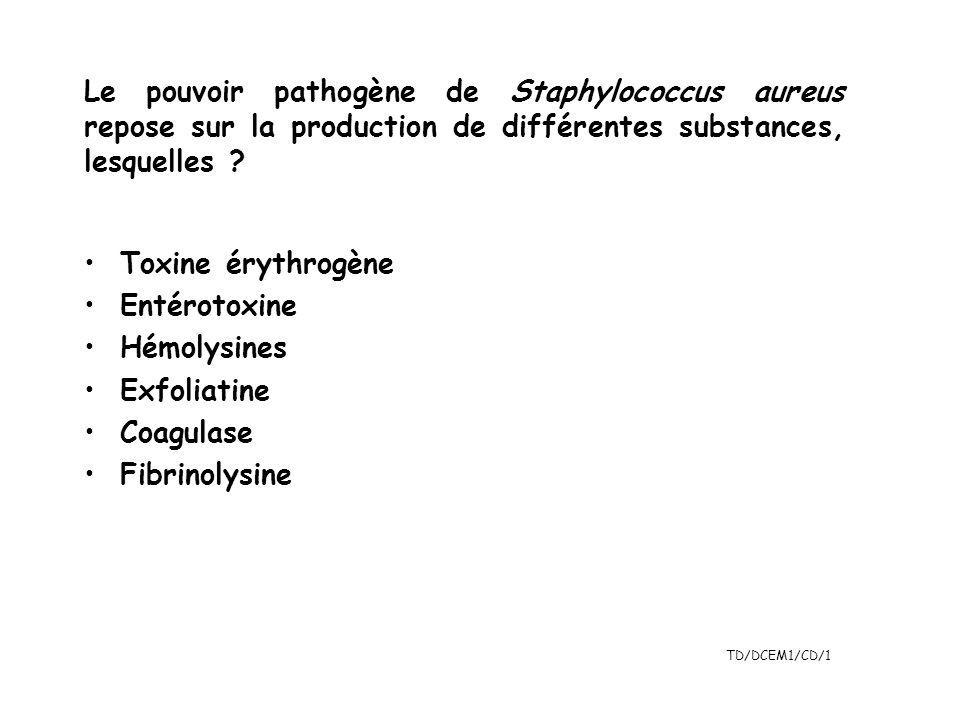 TD/DCEM1/CD/1 Toxine érythrogène Entérotoxine Hémolysines Exfoliatine Coagulase Fibrinolysine Le pouvoir pathogène de Staphylococcus aureus repose sur