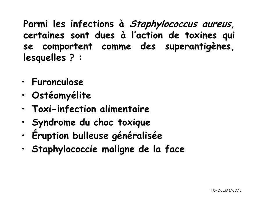 TD/DCEM1/CD/3 Parmi les infections à Staphylococcus aureus, certaines sont dues à laction de toxines qui se comportent comme des superantigènes, lesqu