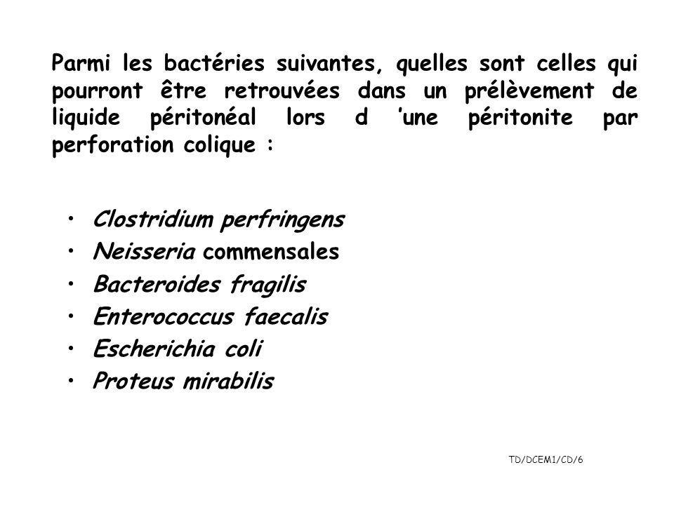 TD/DCEM1/CD/6 Parmi les bactéries suivantes, quelles sont celles qui pourront être retrouvées dans un prélèvement de liquide péritonéal lors d une pér