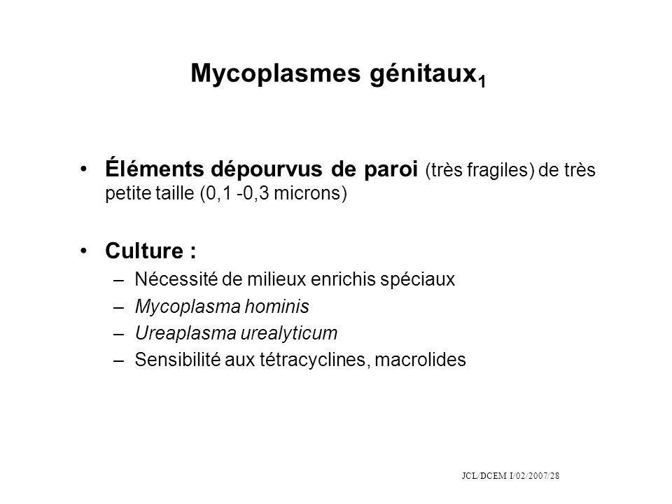 JCL/DCEM I/02/2007/28 Mycoplasmes génitaux 1 Éléments dépourvus de paroi (très fragiles) de très petite taille (0,1 -0,3 microns) Culture : –Nécessité