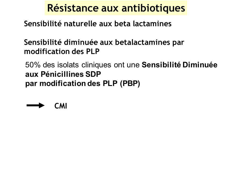 Résistance aux antibiotiques Sensibilité naturelle aux beta lactamines Sensibilité diminuée aux betalactamines par modification des PLP CMI 50% des is