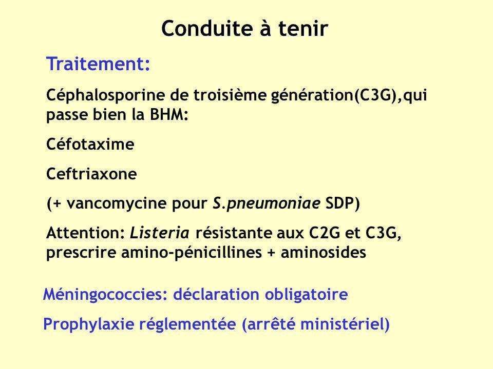 Conduite à tenir Traitement: Céphalosporine de troisième génération(C3G),qui passe bien la BHM: Céfotaxime Ceftriaxone (+ vancomycine pour S.pneumonia