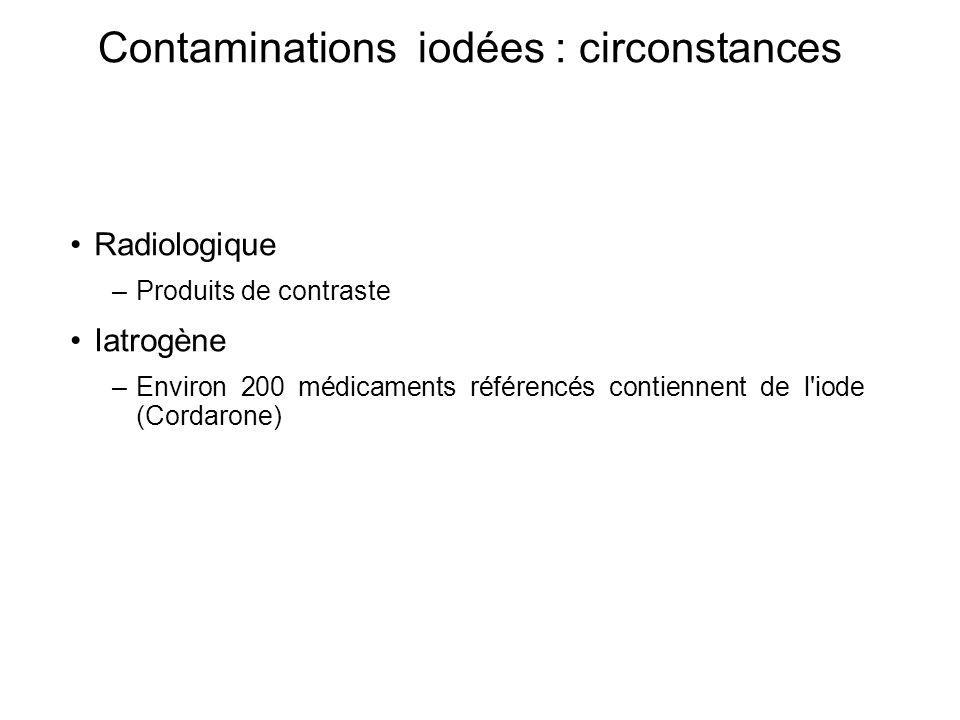Contaminations iodées : circonstances Radiologique –Produits de contraste Iatrogène –Environ 200 médicaments référencés contiennent de l iode (Cordarone)