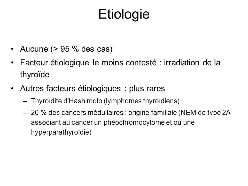 Etiologie Aucune (> 95 % des cas) Facteur étiologique le moins contesté : irradiation de la thyroïde Autres facteurs étiologiques : plus rares –Thyroïdite d Hashimoto (lymphomes thyroïdiens) –20 % des cancers médullaires : origine familiale (NEM de type 2A associant au cancer un phéochromocytome et ou une hyperparathyroïdie)