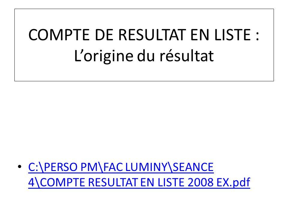 COMPTE DE RESULTAT EN LISTE : Lorigine du résultat C:\PERSO PM\FAC LUMINY\SEANCE 4\COMPTE RESULTAT EN LISTE 2008 EX.pdf C:\PERSO PM\FAC LUMINY\SEANCE
