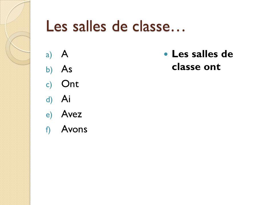 Les salles de classe… a) A b) As c) Ont d) Ai e) Avez f) Avons Les salles de classe ont