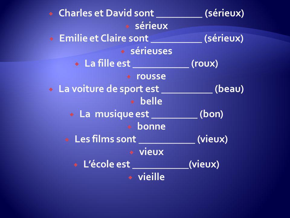 Charles et David sont _________ (sérieux) sérieux Emilie et Claire sont __________ (sérieux) sérieuses La fille est ___________ (roux) rousse La voitu