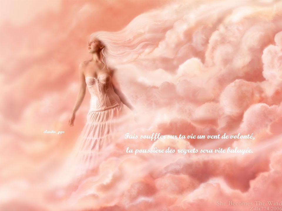 Fais souffler sur ta vie un vent de volonté, la poussière des regrets sera vite balayée.