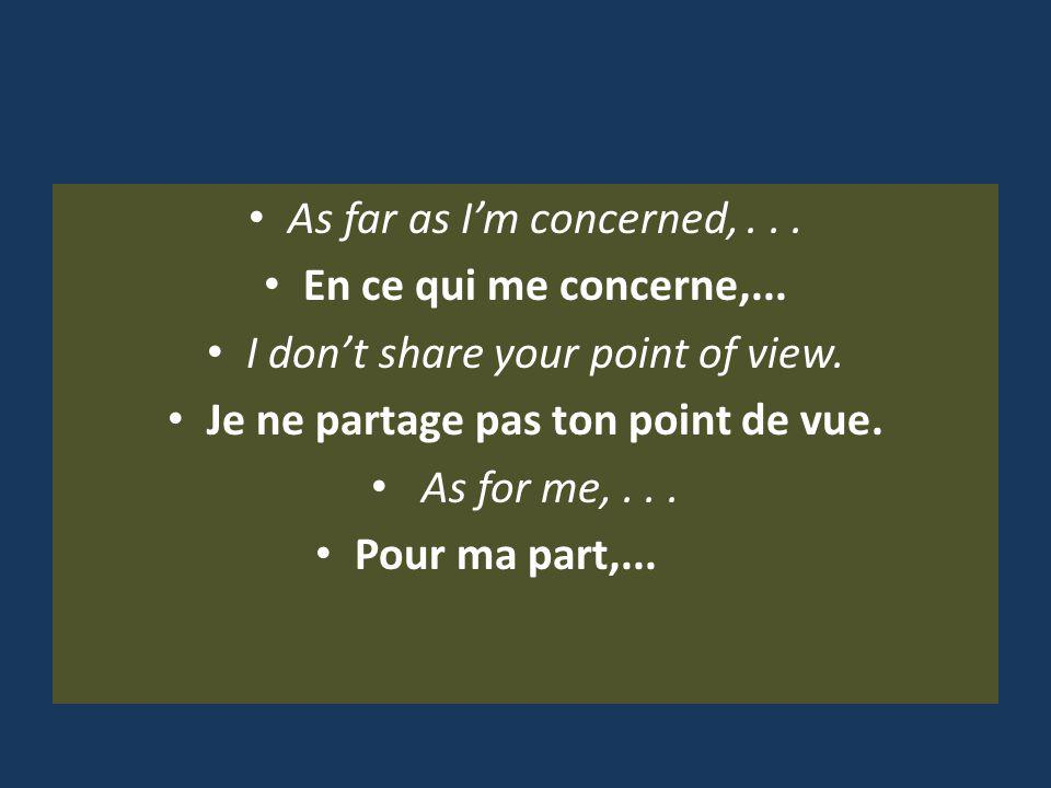 As far as Im concerned,... En ce qui me concerne,...