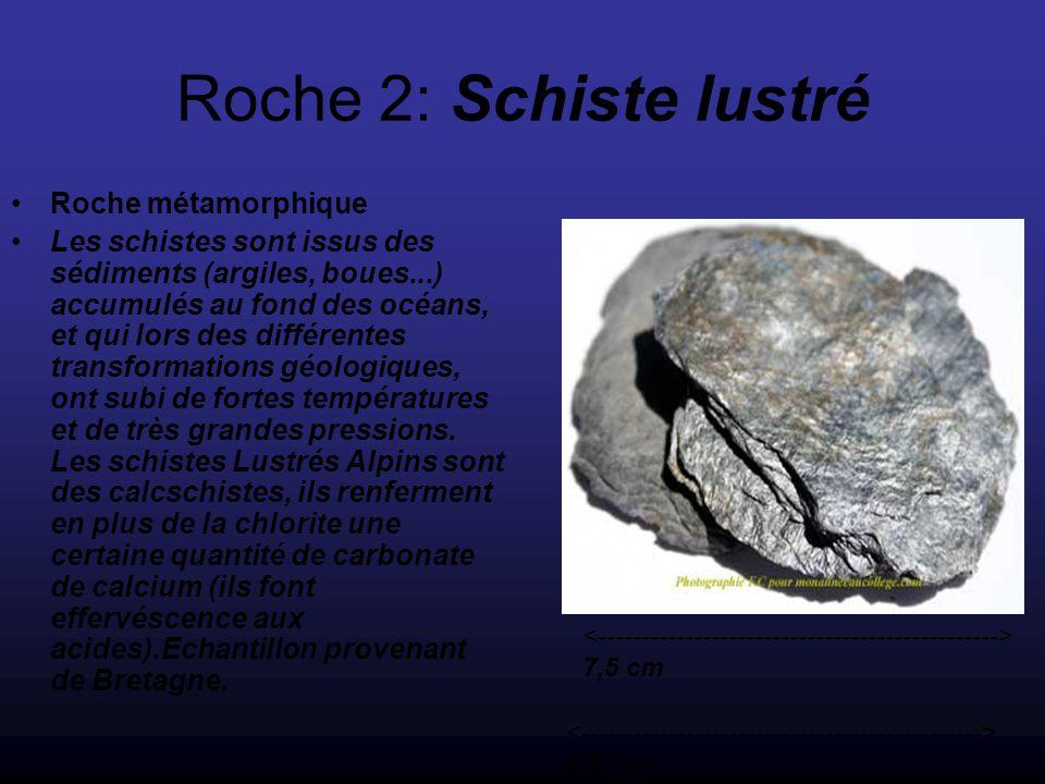 Roche 2: Schiste lustré Roche métamorphique Les schistes sont issus des sédiments (argiles, boues...) accumulés au fond des océans, et qui lors des différentes transformations géologiques, ont subi de fortes températures et de très grandes pressions.