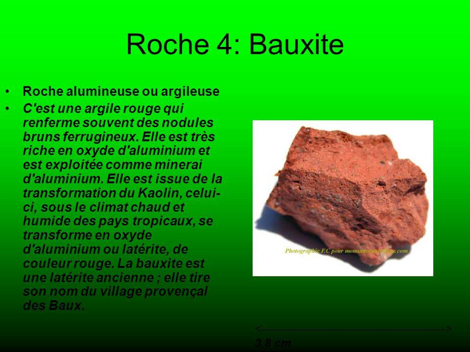 Roche 4: Bauxite Roche alumineuse ou argileuse C est une argile rouge qui renferme souvent des nodules bruns ferrugineux.