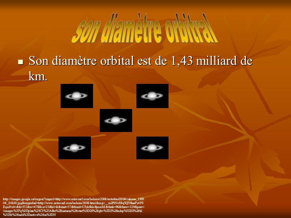 Son diamètre orbital est de 1,43 milliard de km. Son diamètre orbital est de 1,43 milliard de km. http://images.google.ca/imgres?imgurl=http://www.ast