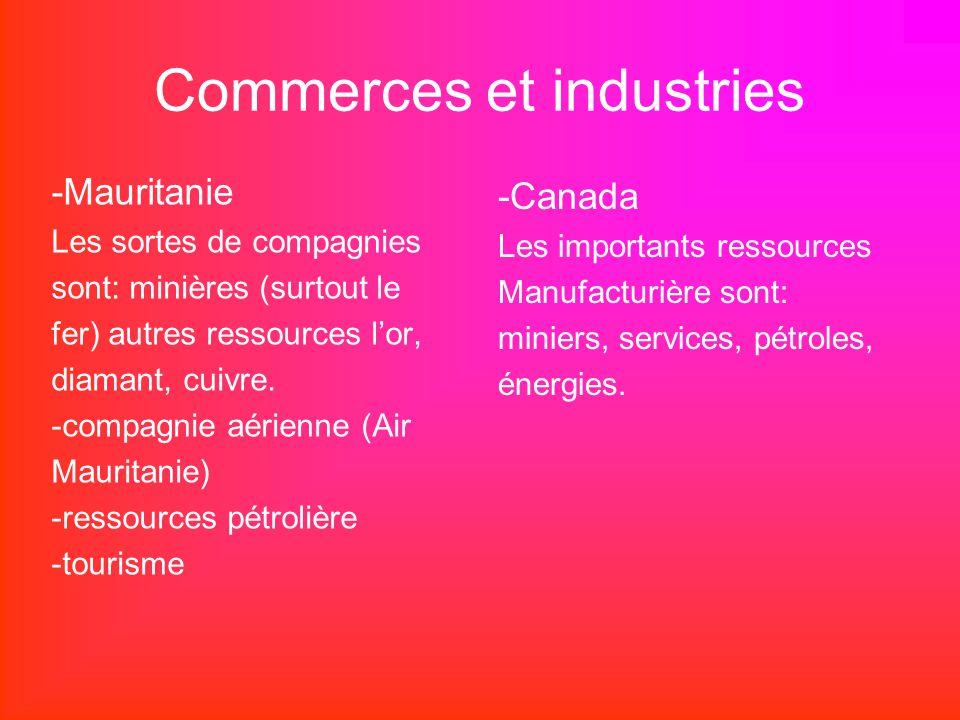 Commerces et industries -Mauritanie Les sortes de compagnies sont: minières (surtout le fer) autres ressources lor, diamant, cuivre. -compagnie aérien
