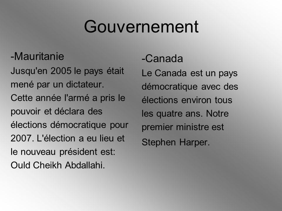Gouvernement -Mauritanie Jusqu'en 2005 le pays était mené par un dictateur. Cette année l'armé a pris le pouvoir et déclara des élections démocratique