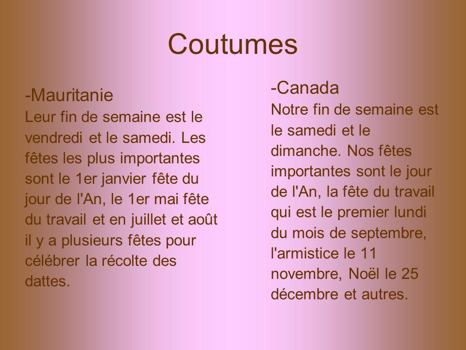 Coutumes -Mauritanie Leur fin de semaine est le vendredi et le samedi. Les fêtes les plus importantes sont le 1er janvier fête du jour de l'An, le 1er
