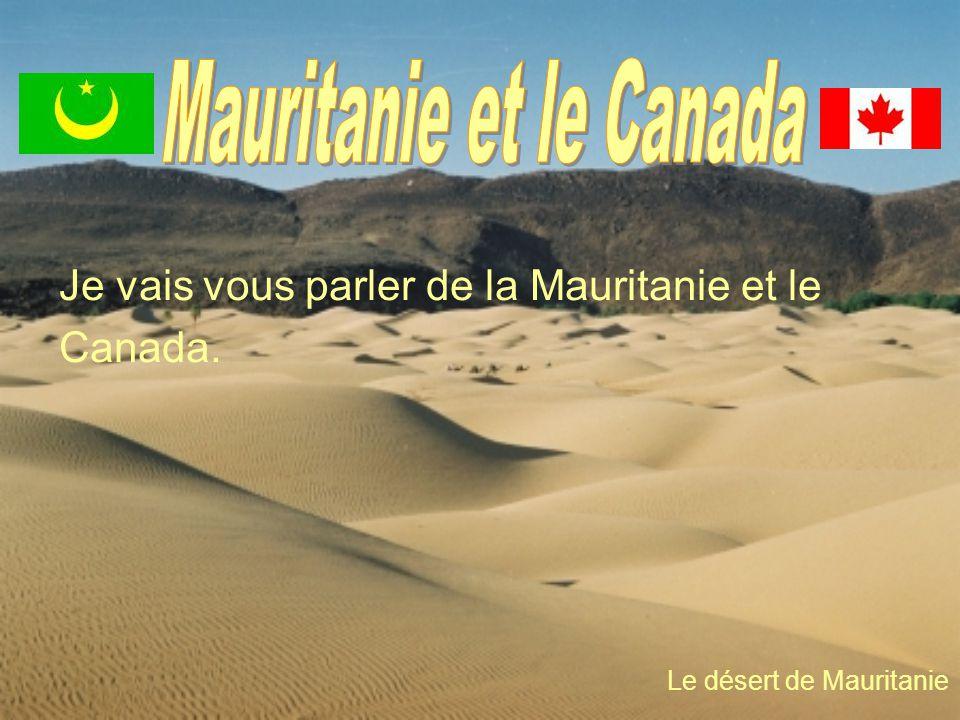 Je vais vous parler de la Mauritanie et le Canada. Le désert de Mauritanie