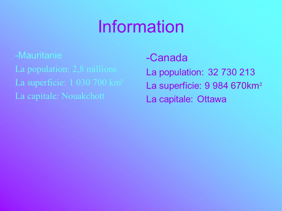 Information -Mauritanie La population: 2,8 millions La superficie: 1 030 700 km² La capitale: Nouakchott -Canada La population: 32 730 213 La superfic